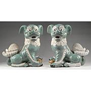 SALE Pr. of 19th C. Chinese Export Porcelain Celadon Lion Dogs