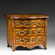 SALE 19th C. Louis XV Bronze Mounted Miniature Commode or Chest