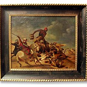 SALE 19th C. Oil Painting After Adolph Schreyer, Lion Hunt (1828-1899)