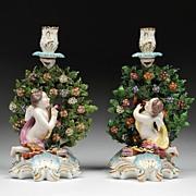SALE Chelsea Gold Anchor Style Bocage Figural Candlesticks by Edme Samson