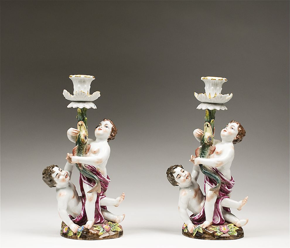 Royal Naples Capodimonte 19th C Porcelain Candlesticks