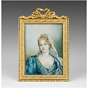 SALE Early 19th C. French Miniature Watercolor Portrait of Young Woman in Lace Veil