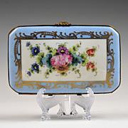 SALE Blue Paris Porcelain Floral Hand Painted Box