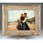 SALE Oil on Board Beach Scene by Paul Michel Dupuy (1869-1949)
