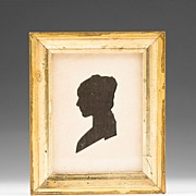 SALE American 19th C. Hollow Cut Silhouette of Young Woman
