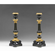SALE Pair of French Neoclassical Fire Gilded Candlesticks