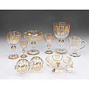 SALE 74 Piece Matched Set of Moser Glassware With Raised Gilt Enamel