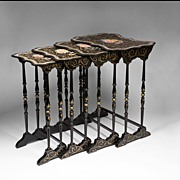 SALE English Victorian Papier Mache Lacquer Nesting Tables