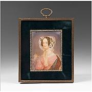 19th C. Miniature Watercolor Portrait of Woman in Flowered Bonnet