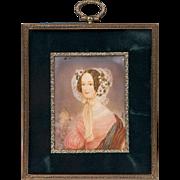 SALE 19th C. Miniature Watercolor Portrait of Woman in Flowered Bonnet