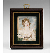 SALE 19th C. Miniature Watercolor Portrait of Maiden