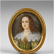 SALE 18th C. Miniature Watercolor Oval Portrait Of Young Maiden