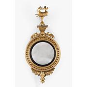 Regency Giltwood Bullseye Convex Mirror Mounted With Hippocamp