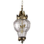 SALE Panel Cut French Crystal And Bronze Mounted Hall Lantern