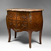 SALE 19th C. Louis XV Floral Inlaid Marble Top Commode
