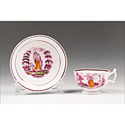 SALE 1840 Staffordshire Pink Lustre Temperance Cup & Saucer