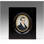 SALE Early 19th C. Miniature Watercolor Portrait of Gentleman