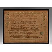 SOLD American Schoolgirl Linen Needlework Sampler, 1830