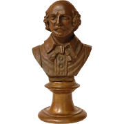 SOLD 19th C. Bronze Bust of Shakespeare on Pedestal