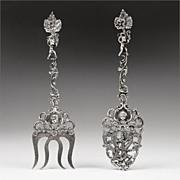 SALE 1885 Ornate Dutch Silver Pierced Engraved Serving Spoon & Fork