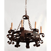 SALE 19th C. French Hand Forged Iron Chandelier