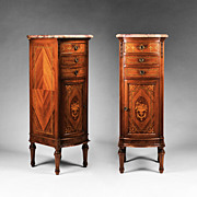 SOLD Pair of Louis XVI Style Marquetry Stacked Commodes or Semainiers