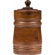 SALE 19th C. Walnut Wood Hand Turned Treenware Canister