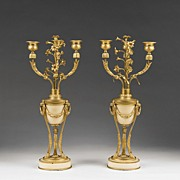 Pair of Napoleon III French Empire Amphora Bronze & Onyx Candelabras
