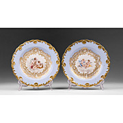 SALE Pair of Meissen Rococo Cabinet Plates