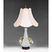 SALE 19th Century Flower Encrusted Jacob Petit Vase Fitted As Lamp