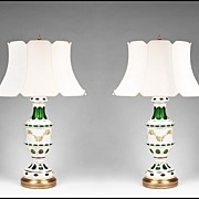 SALE Pair of Early 20th C. Bohemian Glass Opaline Overlay Cut to Green Lamps With Enamel