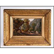 SALE Antique Wooded Landscape Oil On Panel