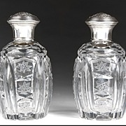 SALE Matched Pair of Cut Glass Perfume Bottles With Sterling Covers