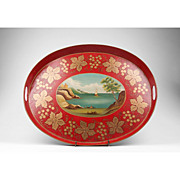 SALE 19th C. Red French Tole Tray, Hand Painted Seascape