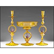 SALE Italian Salviati Murano Glass Console or Garniture Set