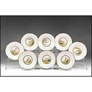SALE Set of 8 late 19th C. Spode Hand Painted Bone China Game Fish Plates