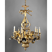 SALE Early 20th C. French Ormolu 15 Light Cherub Chandelier
