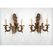 SALE Pr. 19th C. Bronze Baroque Style Wall Sconces, Hung With Crystal Pendalogues