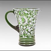 SALE 1930 Silver Deposit Green Blown Glass Pitcher