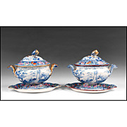 SALE Near Pair of William Mason Beaded Frame Mark Series Sauce Tureen With Stands and ...