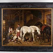Mid 19th C. Oil On Canvas Interior Barn Scene After John F. Herring, Jr.