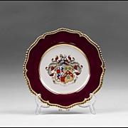 SALE Worcester Flight, Barr & Barr Armorial Porcelain Plate