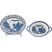 SALE Chinoiserie Bridgeless, 1810-20, English Pearlware Chestnut Basket & Stand