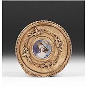 SALE 19th C. Gilt Bronze Jewelry Casket or Box With Inset Portrait