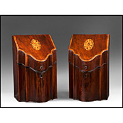 SALE Matched Pair of George III Mahogany Inlaid Knife Boxes, Fitted Interiors