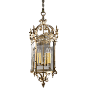 SALE French Gilt Bronze Lantern With Engraved Glass Panels