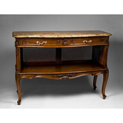 SALE Late 19th Century French Provincial Caned Server or Buffet With Marble Top