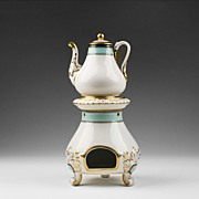 SALE Old Paris Porcelain 19th C. Veilleuse with Warming Stand