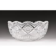 SALE American Brilliant Cut Glass Bowl, Signed Hoare