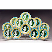 SALE Rare Set of 12 Keller and Guerin Luneville Barbotine Asparagus Plates